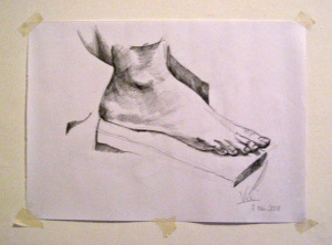 The foot I drew at the Art Centre in El Ejido Park, Quito