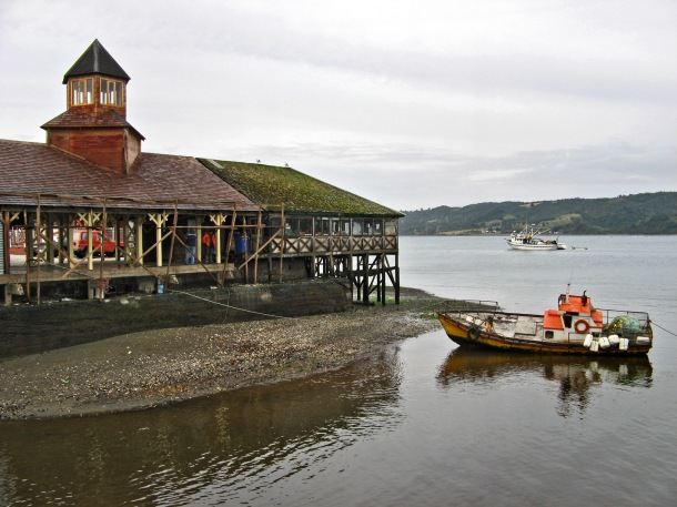 Quicavi fishing harbour, Chiloe island, Chile
