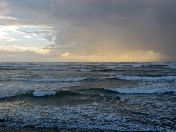 Stormy Pacific Ocean in Chiloe, Chile