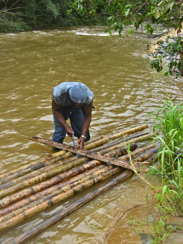 Making a raft in the Choco rainforest, Esmeraldas, Ecuador