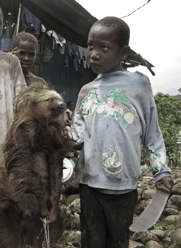 Boy hunter with sloth in Esmeraldas, Ecuador