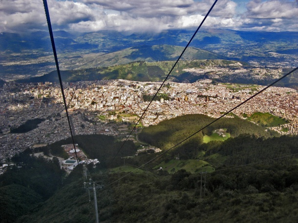 View of Quito, Ecuador from the TeleferiQo cable car