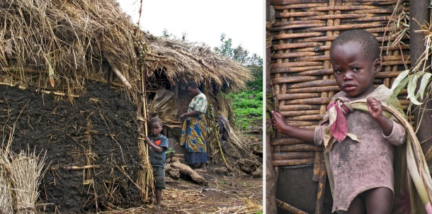 Batwa children outside their thatched mud huts in Mgahinga, Uganda