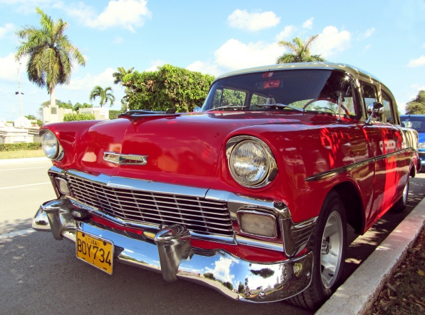 Red classic 1950s Chevrolet car in Havana, Cuba