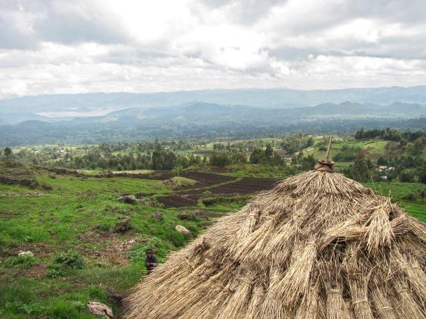 Batwa pygmy homestead, Kisoro, Uganda. Thatched mud hut,