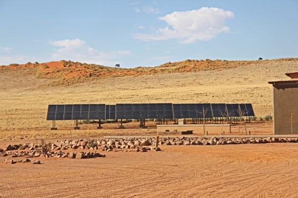 Solar panels at Wolwedans Dune Lodge, Namib Desert, Namibia, Africa