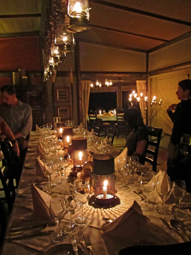 Candlelit dinner at Wolwedans Dunes Lodge, Namib Desert, Namibia