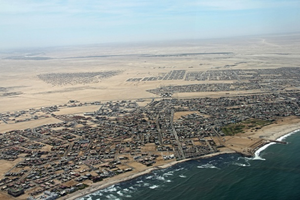 Aerial view of Swakopmund's townships, Namibia, Skeleton Coast