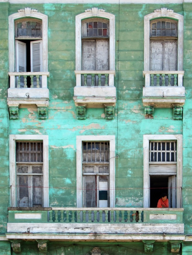Windows in an old building on the Malecon, Havana, Cuba