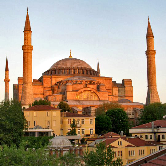 View of Hagia Sofia/Ayia Sofya at sunset, Istanbul, Turkey