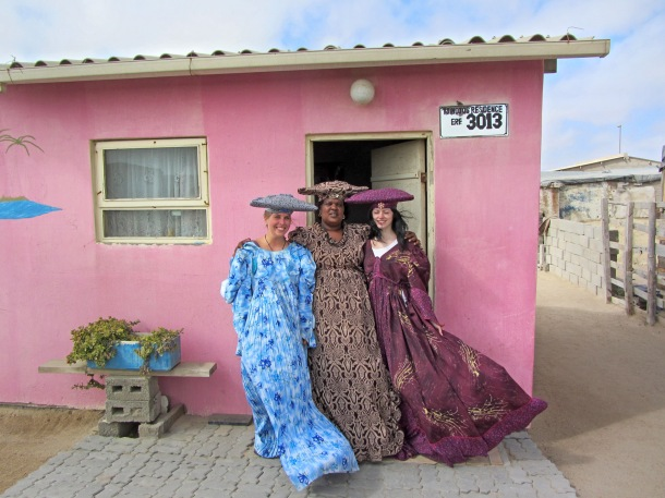 Herero lady in full dress in Mondesa, Swakopmund, Namibia