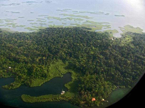 Aerial view of Bocas del Toro, Panama. Central America, Caribbean