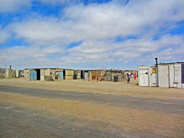 Township tour in Mondesa, Swakopmund, Namibia. Temporary slum shacks.