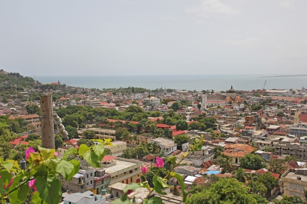 View of Cap Haitian, Haiti, with the cathedral and bay