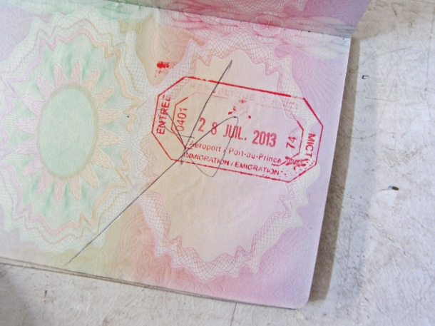 Haitian passport stamp, Port-au-Prince