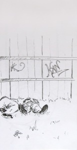 Sketch of people snoozing on the grass in Seville, Spain