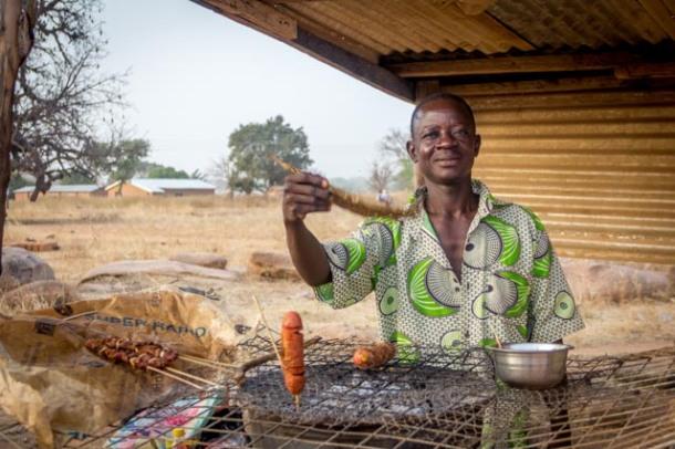 Meat kebab grill, bbq, Ghana