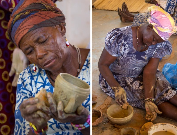 SWOPA women make clay pots in Sirigu, Ghana. Traditional African craft