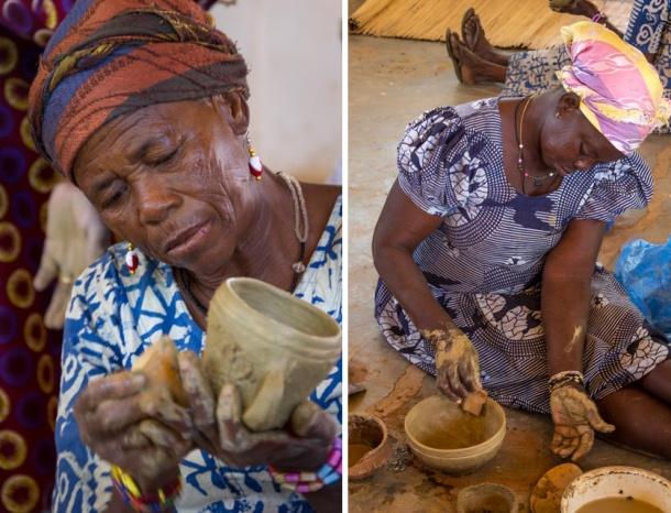 SWOPA women make clay pots in Sirigu, Ghana. Traditional African craft