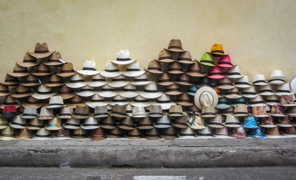 Hats for sale on the street in Cartagena Colombia
