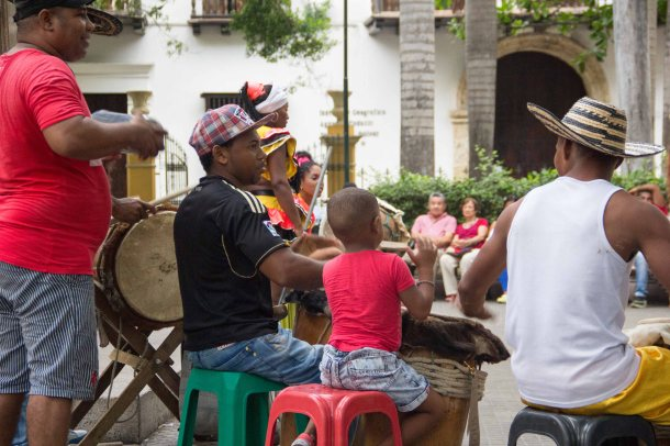 Afrocolombian musicians in Cartagena's Plaza Bolivar