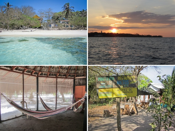 Colombian beach, sunset, hammocks and restaurant, Isla Grande