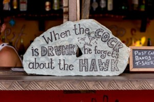 """When the cock is drunk he forgets about the hawk"" - Ghanaian proverb"