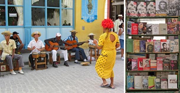 Havana streets salsa musicians dancer bookstall