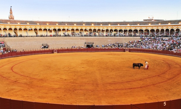Plaza de Toros, Seville, Spain during a bullfight.