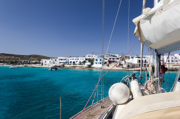Small Cyclades Greece, sailing holiday. Tahita, Mystic Blue
