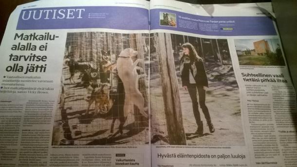 Lapin Kansa newspaper, huskies, Finland, Lapland